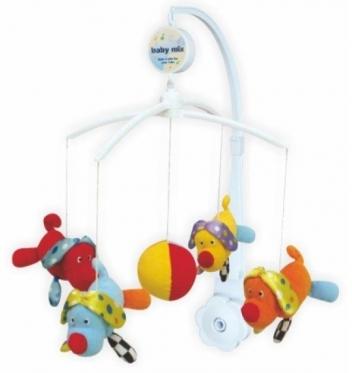 """Pliušinių žaislų karuselė kūdikiams """"Baby Mix Šuniukai"""""""