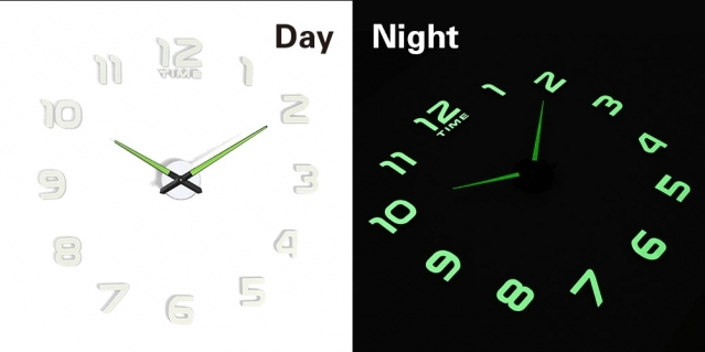 Fluorescentinis arabiškų skaitmenų sieninis laikrodis, Ø 50 - 60 cm
