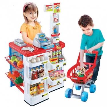 """Žaislų rinkinys """"Parduotuvė ir pirkinių vežimėlis"""", 24 vnt"""