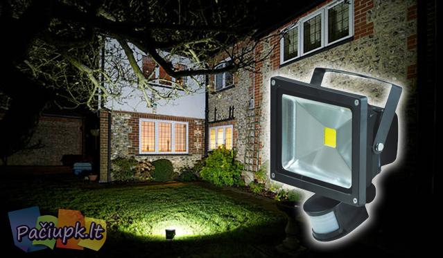 LED lauko prožektorius su judesio davikliu (galimi pasirinkimai)