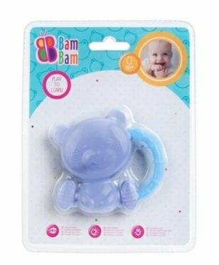 """Barškutis - kramtukas kūdikiams """"Bam-Bam Meškiukas"""", mėlynas"""
