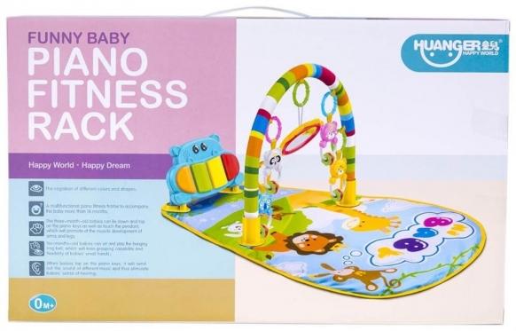 """Kūdikio žaidimų kilimėlis """"Hipopotamas"""" su pianinu, 77 x 39 x 47 cm"""