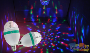 Įsukama besisukanti spalvota LED lemputė