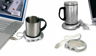 Puodelio šildytuvas bei 4 USB jungčių šakotuvas