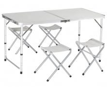 Sulankstomas stalas su keturiomis kėdėmis