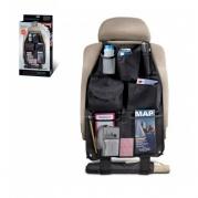 Prie automobilio sėdynės tvirtinamas universalus dėklas su kišenėmis daiktams susidėti