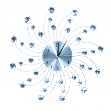 Sieninis laikrodis lenktais spinduliais su kristalais