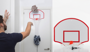 Skalbinių krepšys su krepšinio lanku