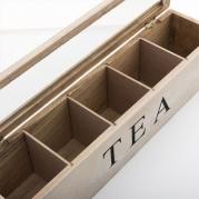 Medinė vintažinė arbatos dėžutė